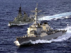 Burke class destroyer USS John S. McCain (DDG 56) with Australian destroyer HMAS Brisbane (DDG 41)
