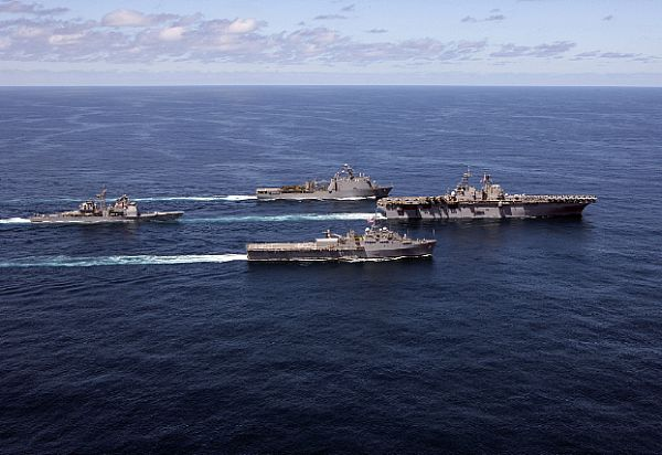 Bataan Amphibious Ready Group underway in the Atlantic Ocean.