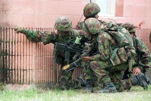 British Gurkhas in exercise with US Marines.