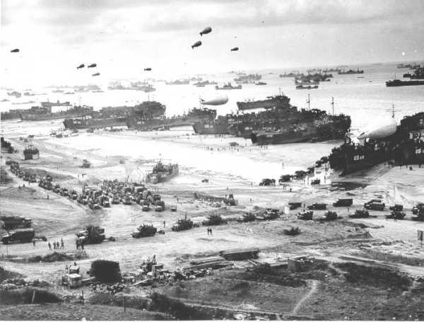 A panoramic view of the Omaha beachhead after it was secured, sometime around mid-June 1944, at low tide.