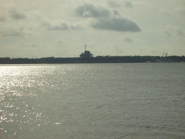 USS Yorktown CV-10 as seen from across Charleston Harbor
