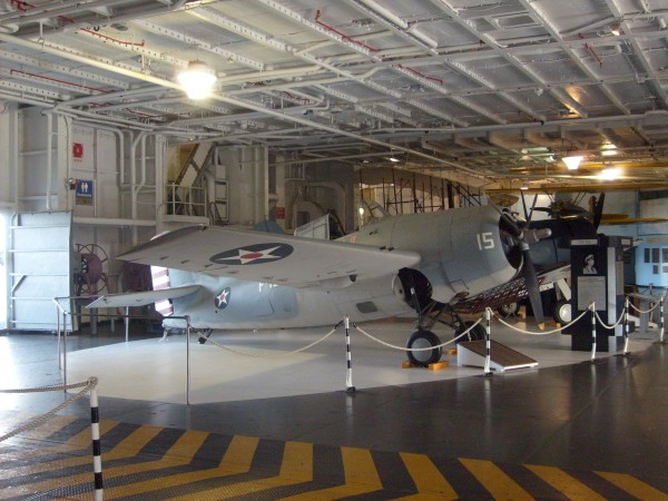 Within the hangar is an F4F-Wildcat and numerous other historical planes from CV-10's three wars.