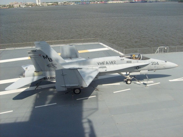 An F/A-18 Hornet, the youngest fighter on the deck.