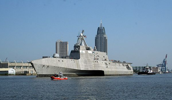 After a rocky start, trimaran Independence (LCS 2) departs Mobile, Ala. to begin builder's sea trials in the Gulf of Mexico.