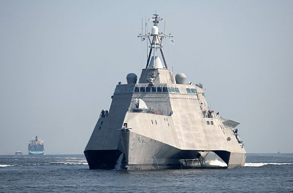 The littoral combat ship Independence (LCS 2) underway during builder's trials.