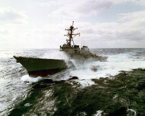 USS Arleigh Burke (DDG-51) underway in rough seas