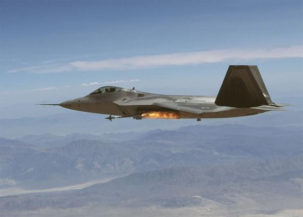 F-22 Raptor fires AIM-9M
