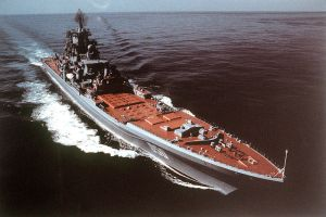 A modern battleship is the giant Russian Kirov class cuiser Frunze.