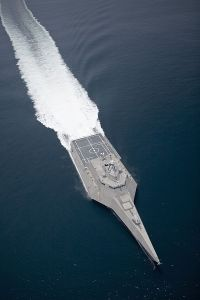 Could seriously put a pirate's eye out! Independence (LCS 2) underway during builder's trials.