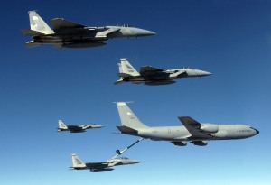 A KC-135 Stratotanker aircrew refuels four F-15 Eagles over Afghanistan.