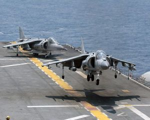Harrier V/STOL planes on USN assault carriers are a proven and powerful alternative to the increasingly unaffordable supercarrier.