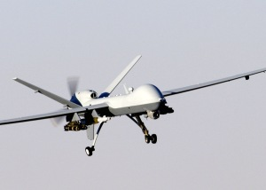 The MQ-9 Reaper has the ability to carry both precision-guided bombs and air-to-ground missiles.