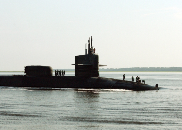 The guided-missile submarine USS Georgia (SSGN 729) transits the St. Marys River.