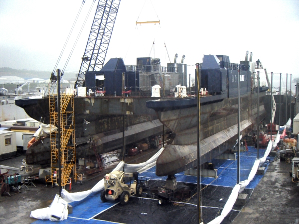 The Office of Naval Research E-Craft, an experimental high-speed transformable hull form vessel, is under construction at Alaska Ship and Drydock in Ketchikan, Alaska.