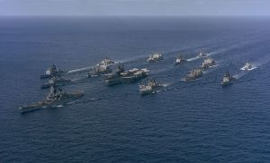 Battle Group Alpha (Carrier Midway, Battleship Iowa) underway in 1987.