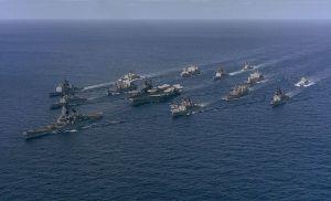 Battle Group Alpha (Carrier Midway, Battleship Iowa) underway in 1987.