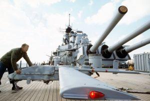 Pioneer RPV on USS Wisconsin (BB-64).