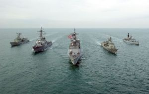US, Australian. and UK warships.