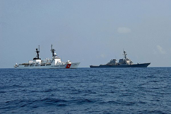 The U.S. Coast Guard Cutter Dallas (WHEC 716) and the guided-missile destroyer USS McFaul (DDG 74) transit through the Black Sea en route to the Republic of Georgia to deliver humanitarian relief supplies.