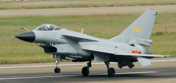 Chinese Chengdu J-10 Fighter. Photo by Retxham at Wikimedia Commons.