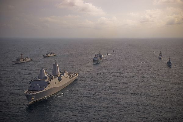 A multi-national naval force, including the San Antonio class-amphibious transport dock ship USS Mesa Verde (LPD 19), USS Doyle (FFG 39), USCGC Mohawk (WMEC 913), the Colombian navy frigate ARC Independiente, the Dutch navy auxiliary ship HMNLS Amsterdam, and the Uruguayan navy frigate General Artigas, underway in formation as part of Fuerzas Aliadas PANAMAX 2009. U.S. Navy photo by Mass Communication Specialist 2nd Class Gary B. Granger Jr.