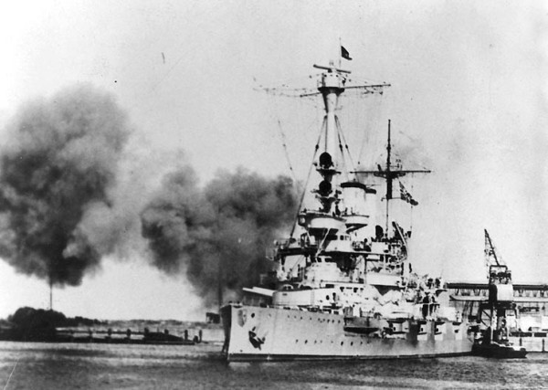 Schleswig-Holstein fires on Polish positions at the Port of Danzig on Sept 1, 1939.