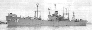 The radar picket ship Vigil (YAGR-12). Placing the essential DEW Line Radar on converted Liberty Ships allowed the Navy to introduce such a capability quickly.