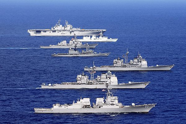 Navy ships from the United States, Australia, Canada and South Korea steam in formation during a Rim of the Pacific 2008 exercise group photo off the coast of the Hawaiian Islands.