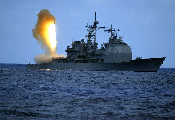 A Standard Missile Three (SM-3) is launched from the guided missile cruiser USS Shiloh (CG 67).